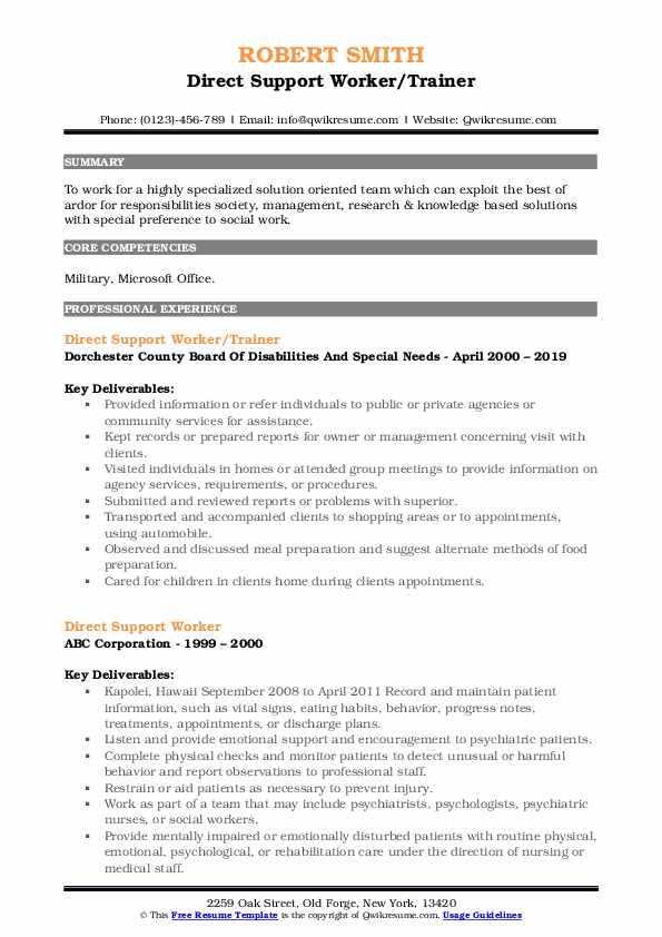 Direct Support Worker/Trainer Resume Model