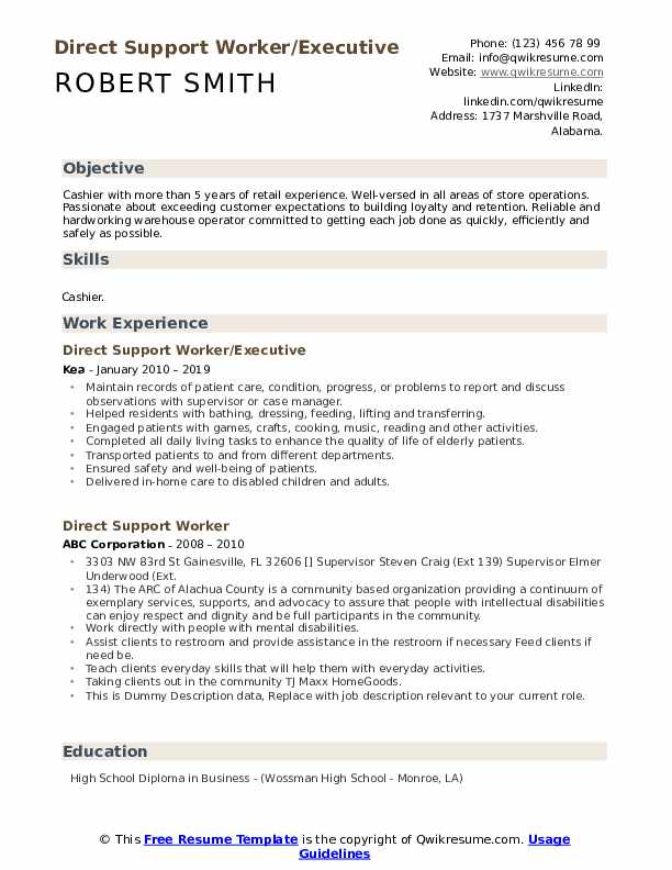 Direct Support Worker/Executive Resume Model