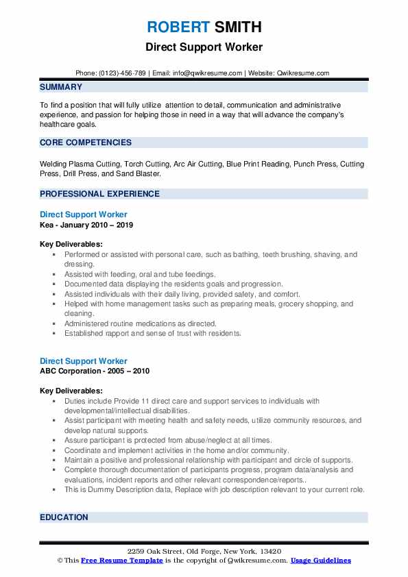 Direct Support Worker Resume Samples Qwikresume