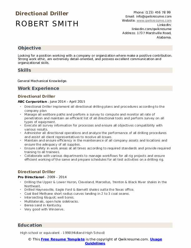 Directional Driller Resume Template