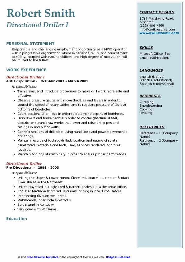 Directional Driller I Resume Example