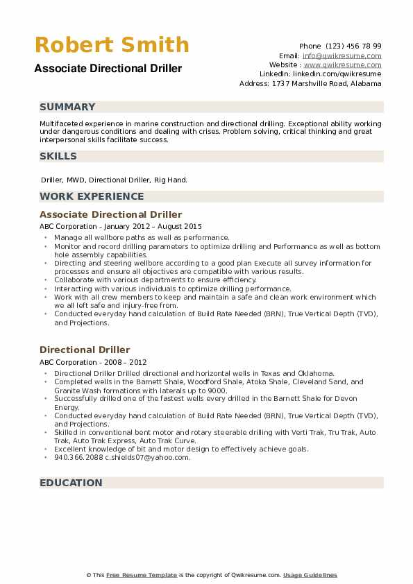 Associate Directional Driller Resume Example