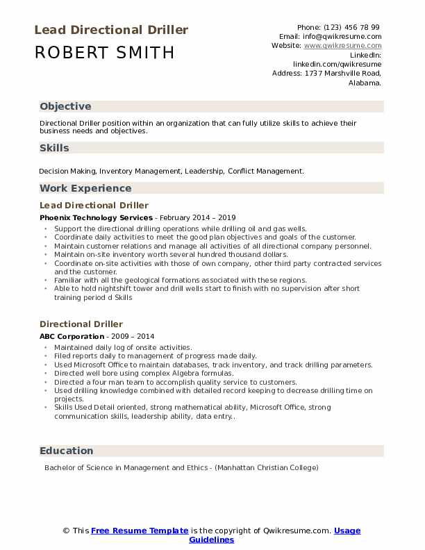 Lead Directional Driller Resume Format