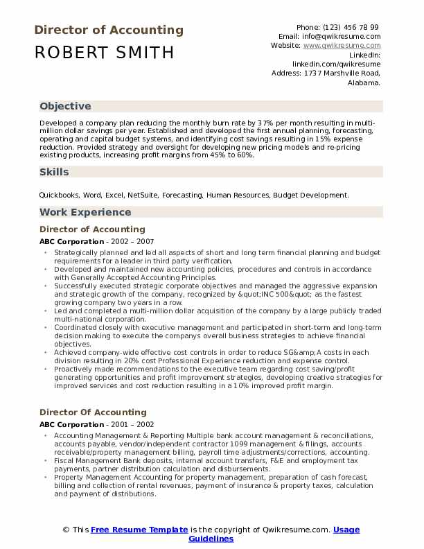 Director of Accounting Resume Sample