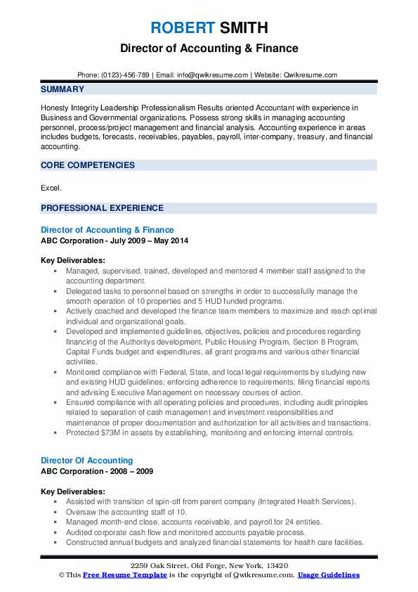 Director of Accounting & Finance Resume Template