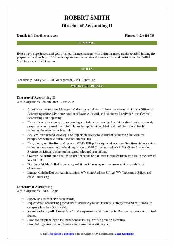 Director of Accounting II Resume Example