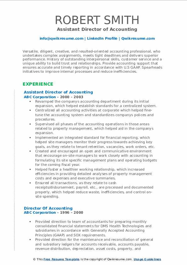 Assistant Director of Accounting Resume Example