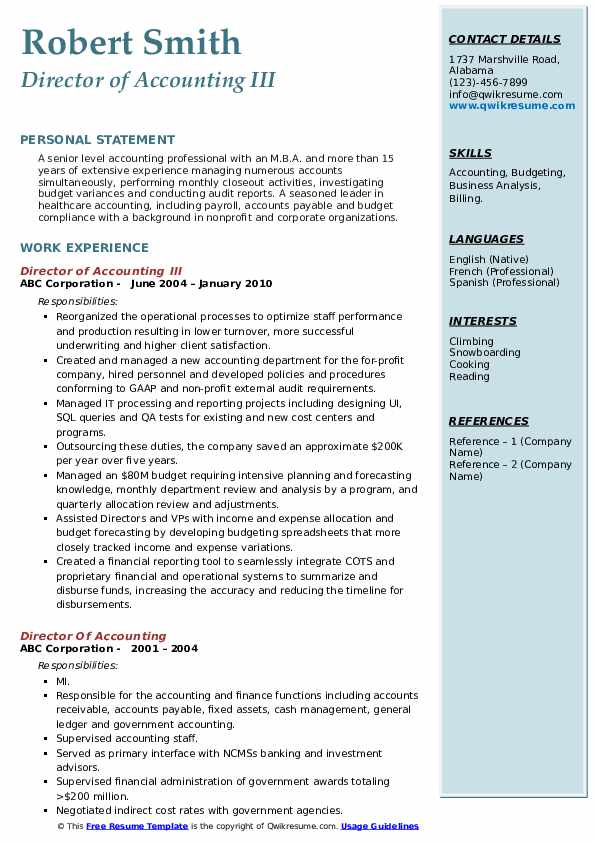 Director of Accounting III Resume Format