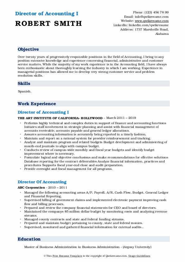 Director of Accounting I Resume Format