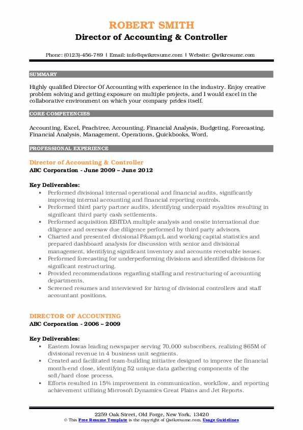 Director of Accounting & Controller Resume Example
