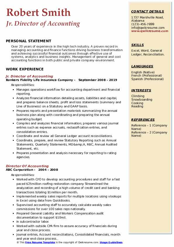 Jr. Director of Accounting Resume Example
