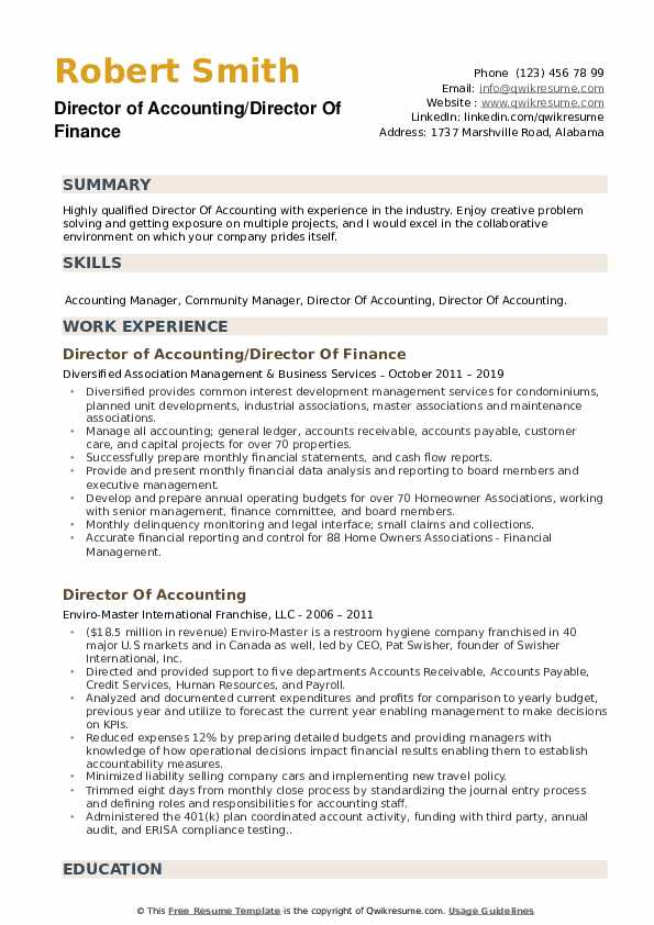 Director of Accounting/Director Of Finance Resume Template