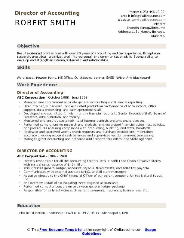 Director Of Accounting Resume example