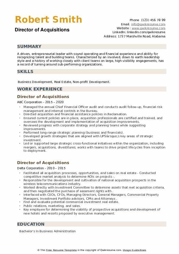 Director of Acquisitions Resume example
