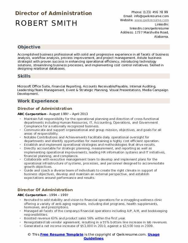 Director of Administration Resume Sample