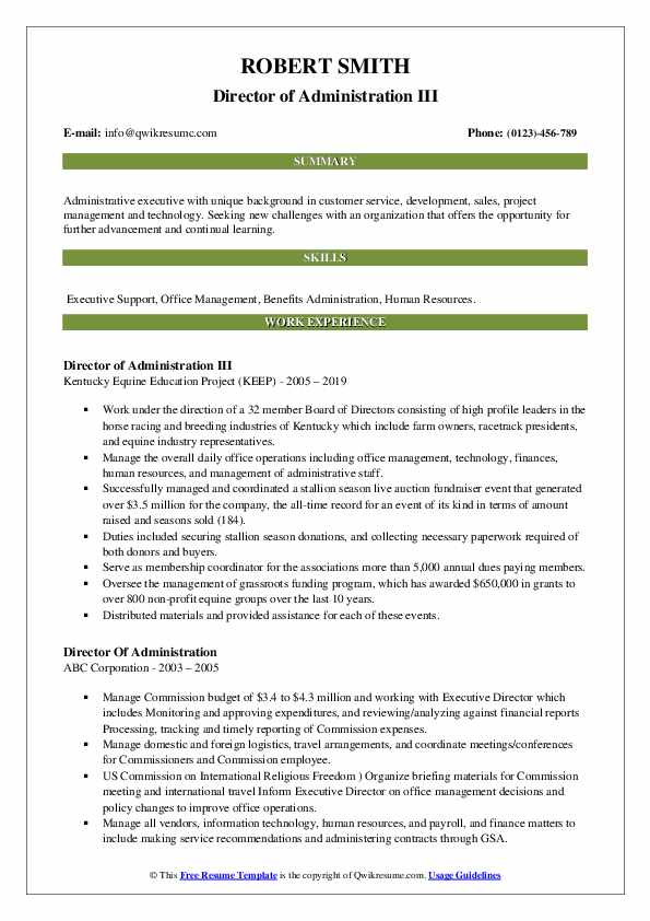 Director of Administration III Resume Sample