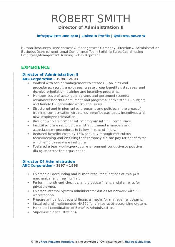 Director of Administration II Resume Template