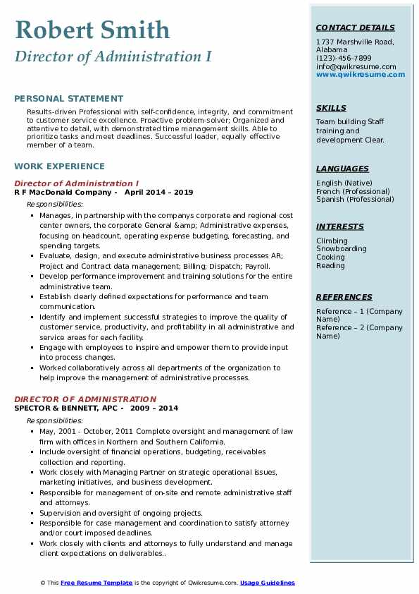 Director of Administration I Resume Format