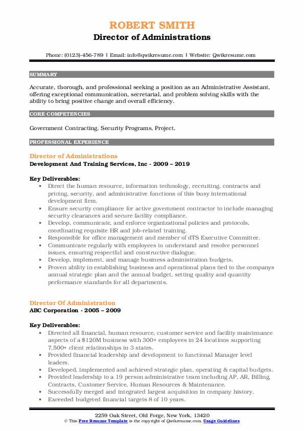 Director of Administrations Resume Example