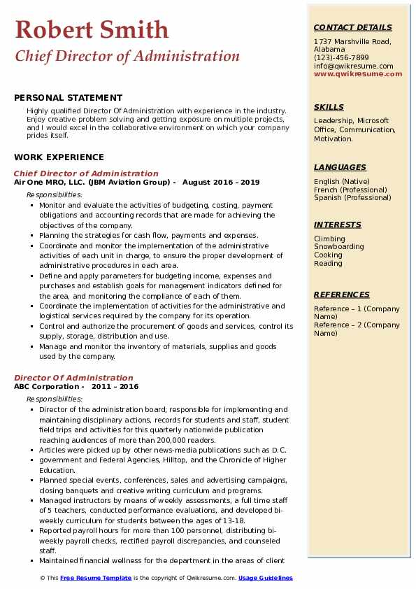 Chief Director of Administration Resume Template