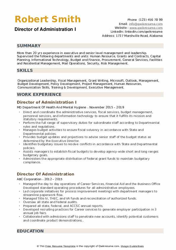 Director of Administration I Resume Template