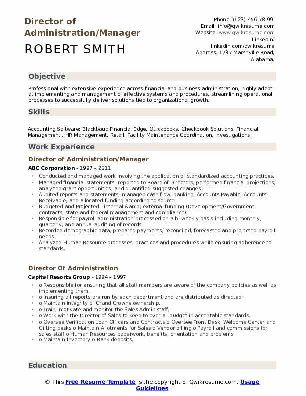Director of Administration/Manager Resume Example