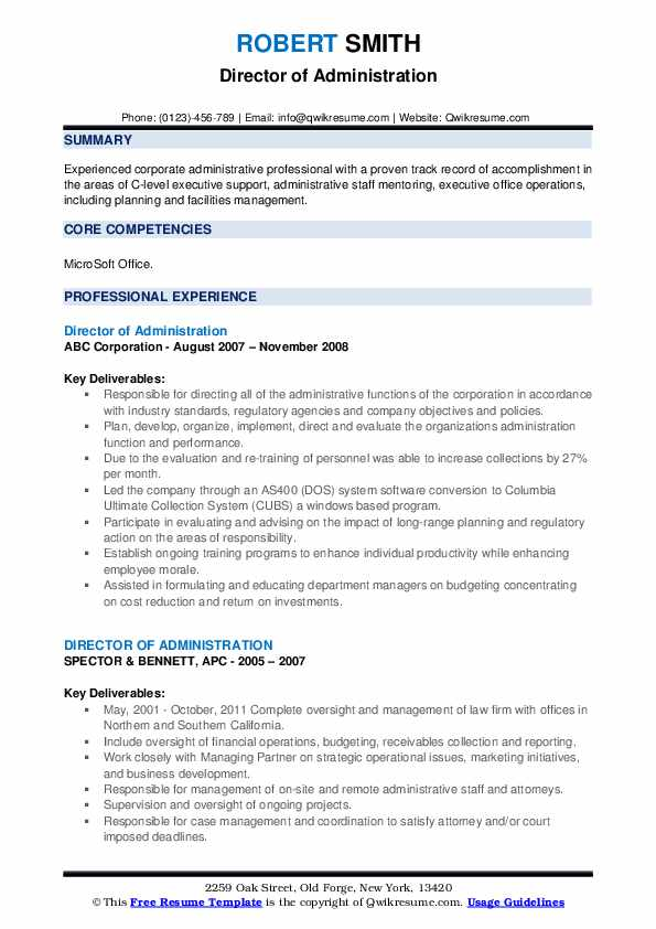 Director Of Administration Resume example