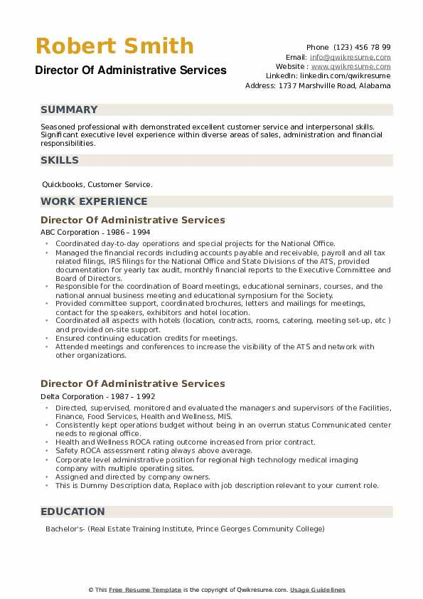 Director Of Administrative Services Resume example