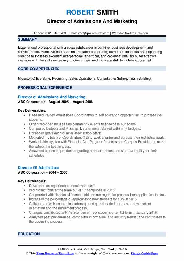 Director of Admissions And Marketing Resume Model