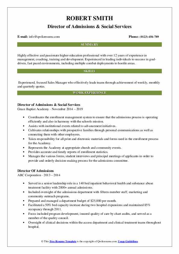 Director of Admissions & Social Services Resume Template