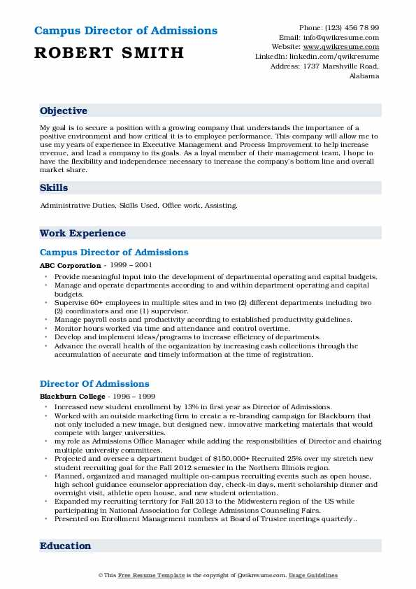 Campus Director of Admissions Resume Sample