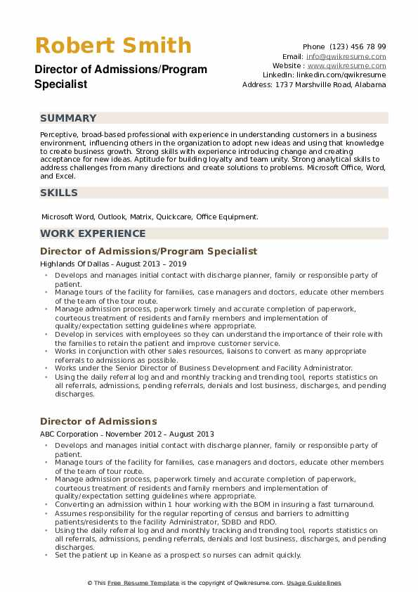 Director Of Admissions Resume Examples | JobHero