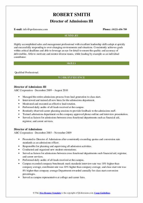 Director of Admissions III Resume Example