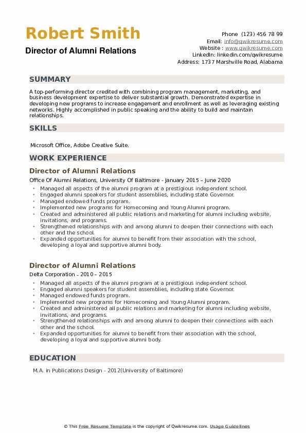 Director of Alumni Relations Resume example