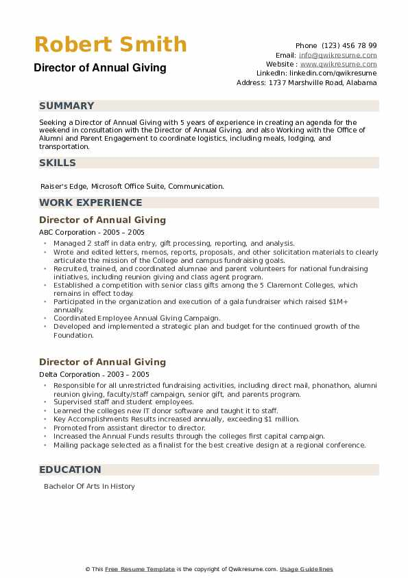 Director of Annual Giving Resume example