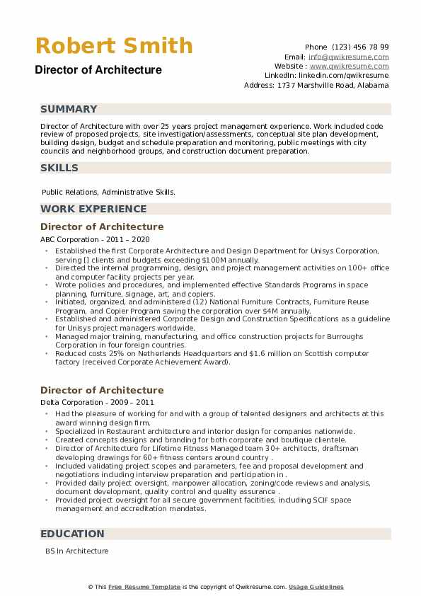 Director of Architecture Resume example