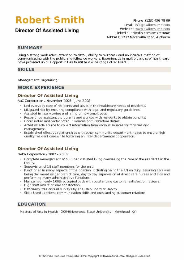 Director Of Assisted Living Resume example