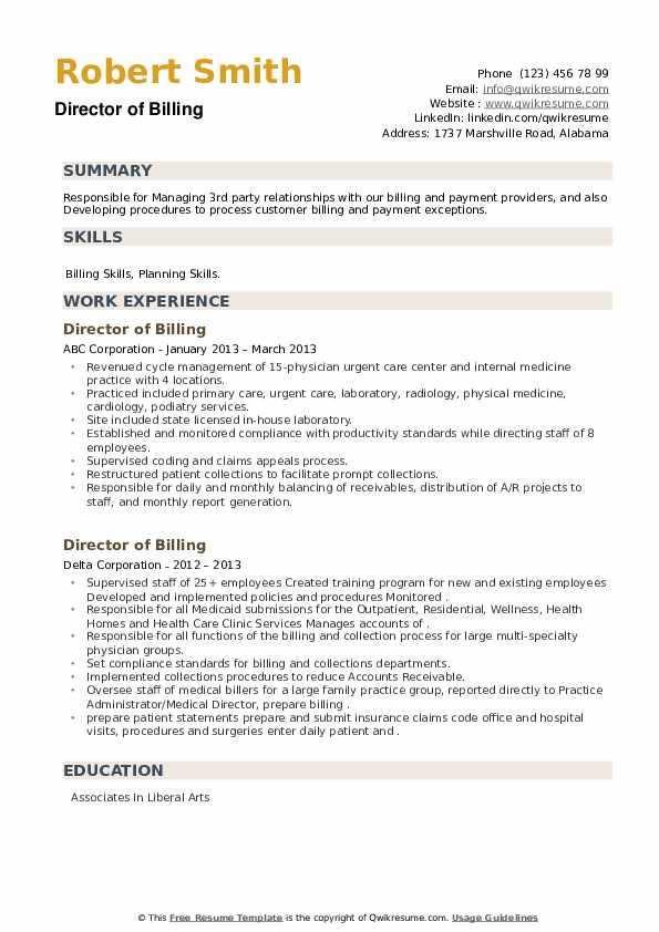 Director of Billing Resume example