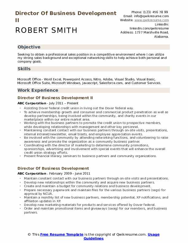 Director Of Business Development II Resume Template