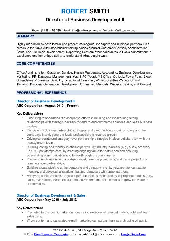 Director of Business Development II Resume Sample