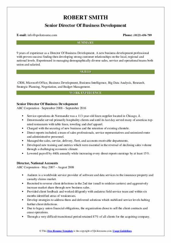 Senior Director Of Business Development Resume Model