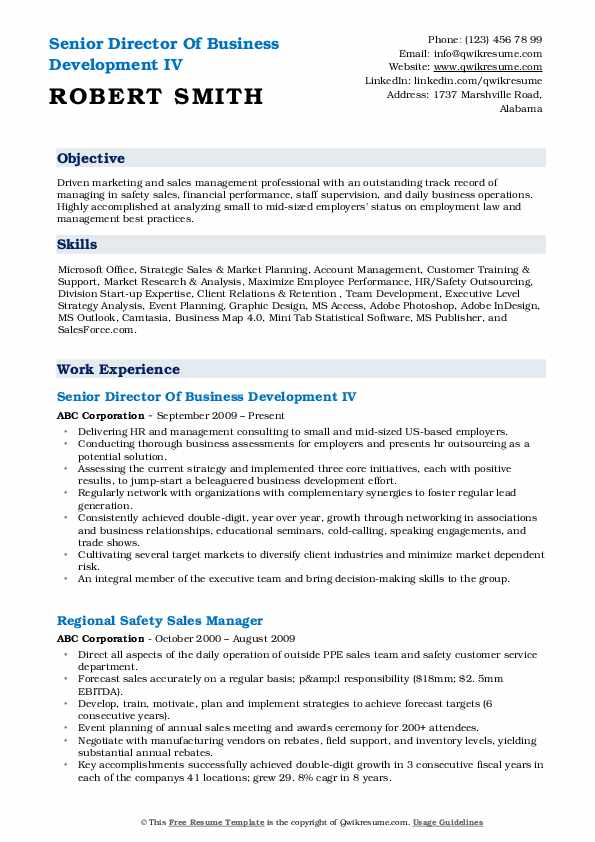 Senior Director Of Business Development IV Resume Template