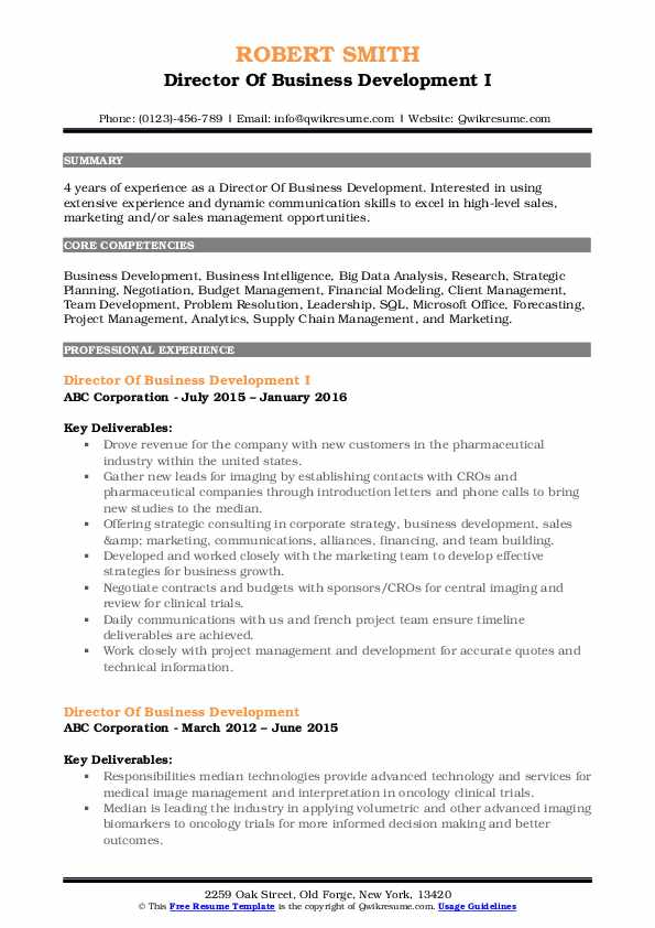Director Of Business Development I Resume Sample