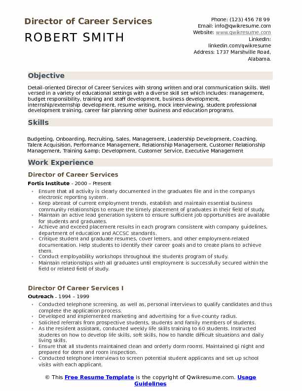 Director of Career Services Resume Template