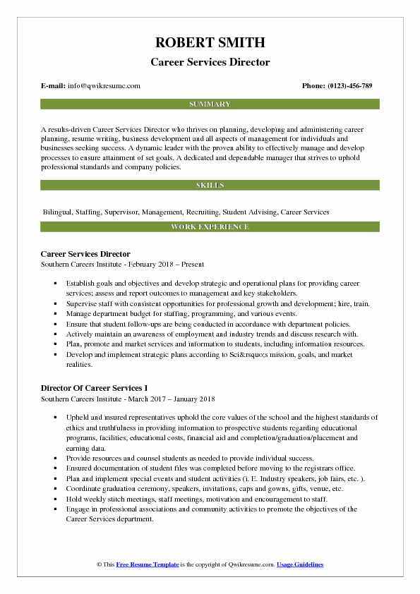Career Services Director Resume Sample
