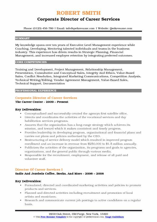 Corporate Director of Career Services Resume Model