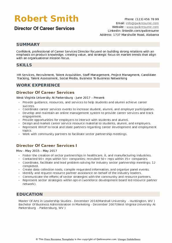 Director of Career Services Resume example