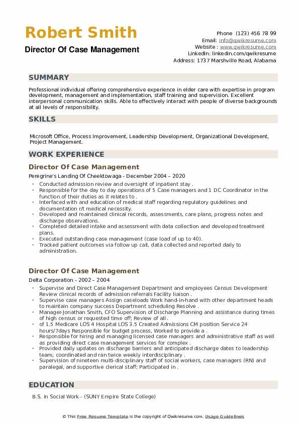 Director Of Case Management Resume example