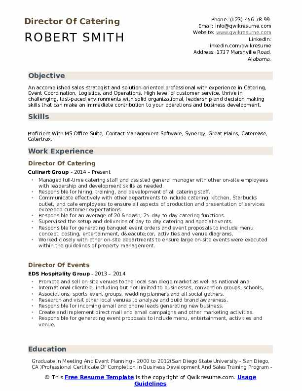 Director Of Catering Resume Sample