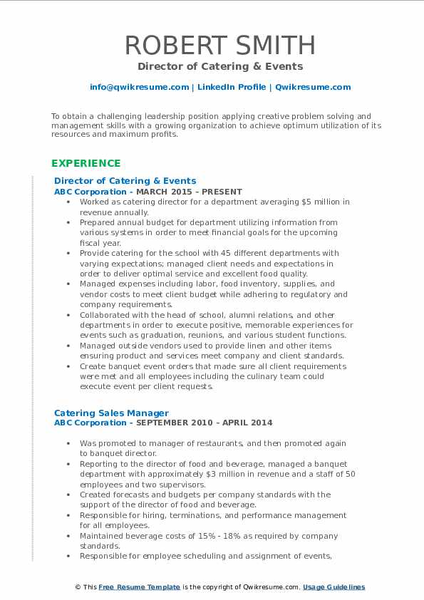 Director of Catering & Events Resume Template